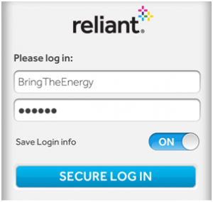 Log in Reliant Energy online and pay bill