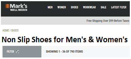 Mens & Womens Non Slip Shoes Canada