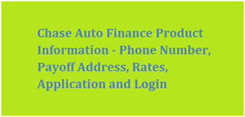 Chase Auto Finance Product Information