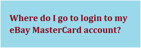 eBay MasterCard Login