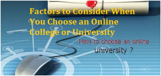 choose an online College or University