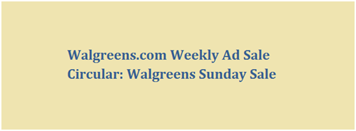 Walgreens Sunday Sale
